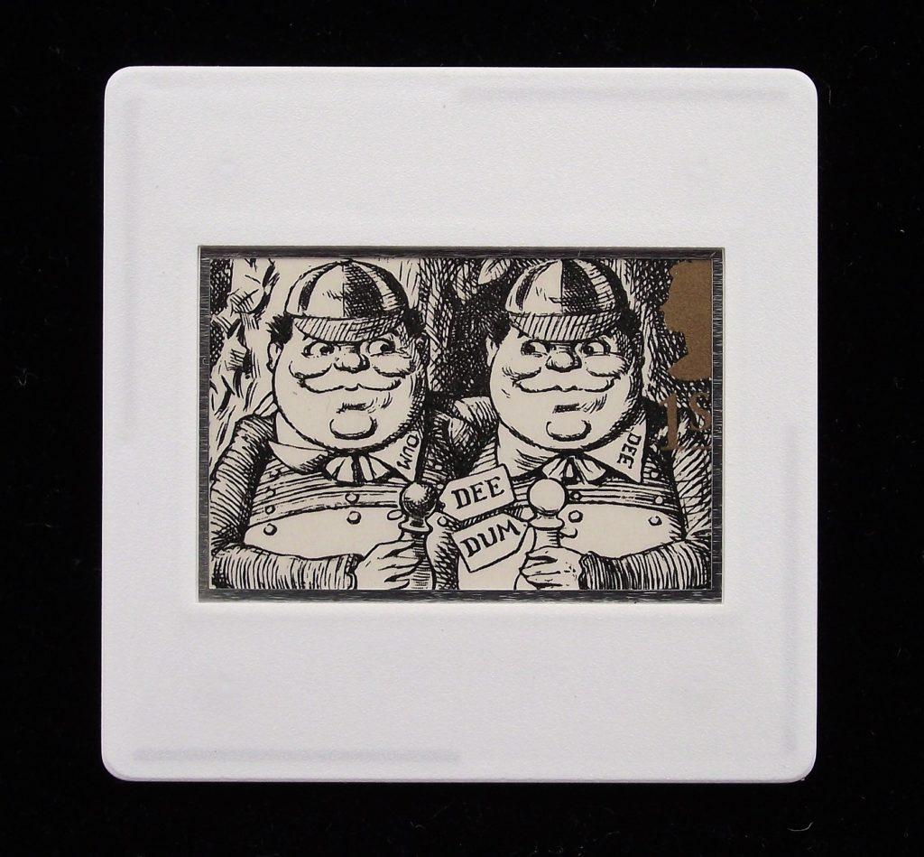 Tweedledum and Tweedledee badge from Alice Through the Looking Glass by Lewis Carroll