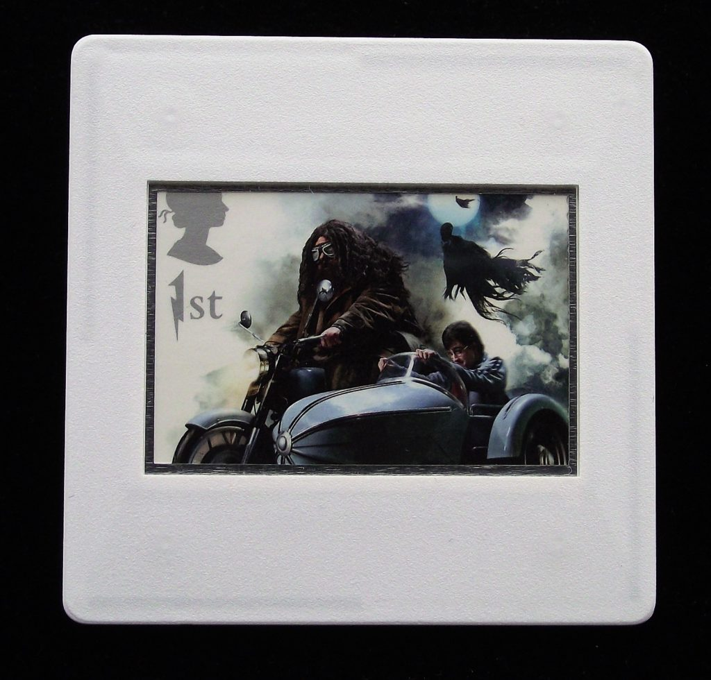 Harry Potter and Hagrid with motorbike and sidecar - Harry Potter - Stamp Style badge