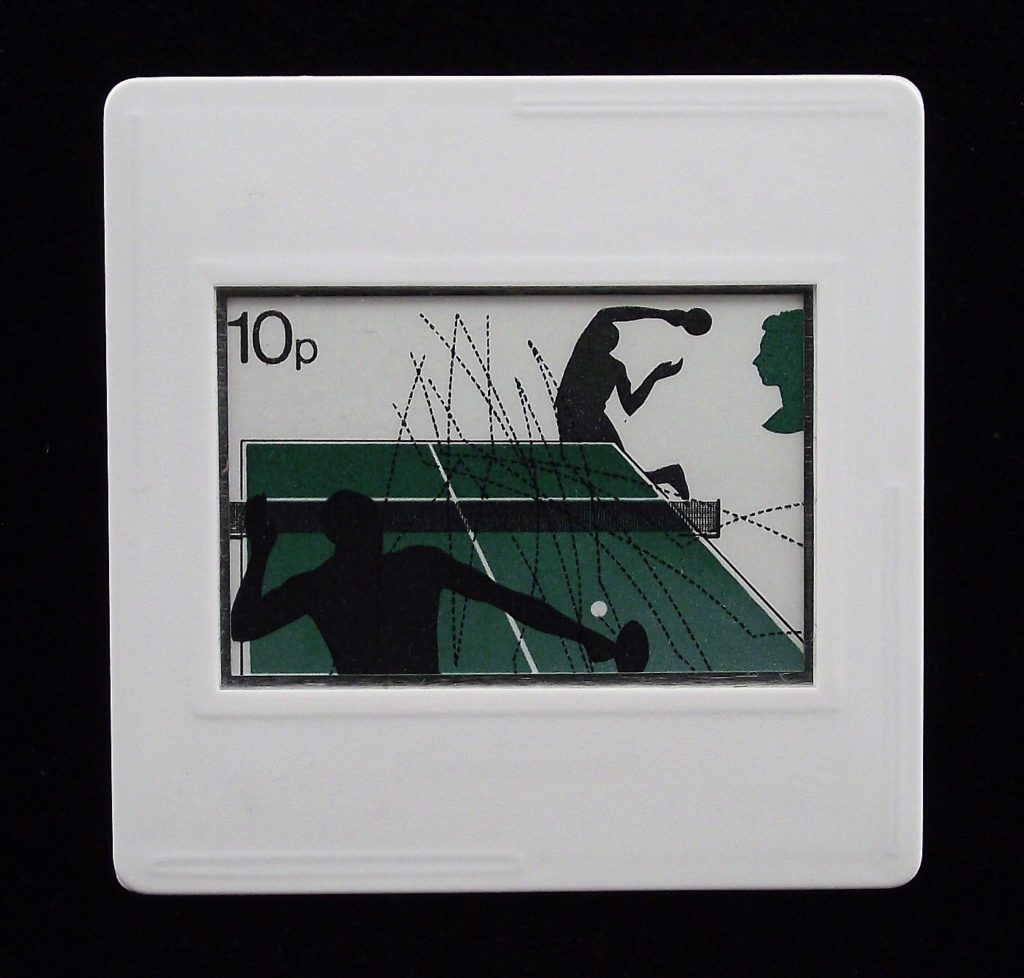 Table Tennis brooch - Andrew Restall sports stamp