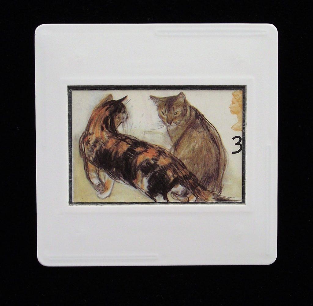 Cats brooch - Elizabeth Blackadder - Kikko (tortoiseshell) and Rosie (Abyssinian) - animal pins