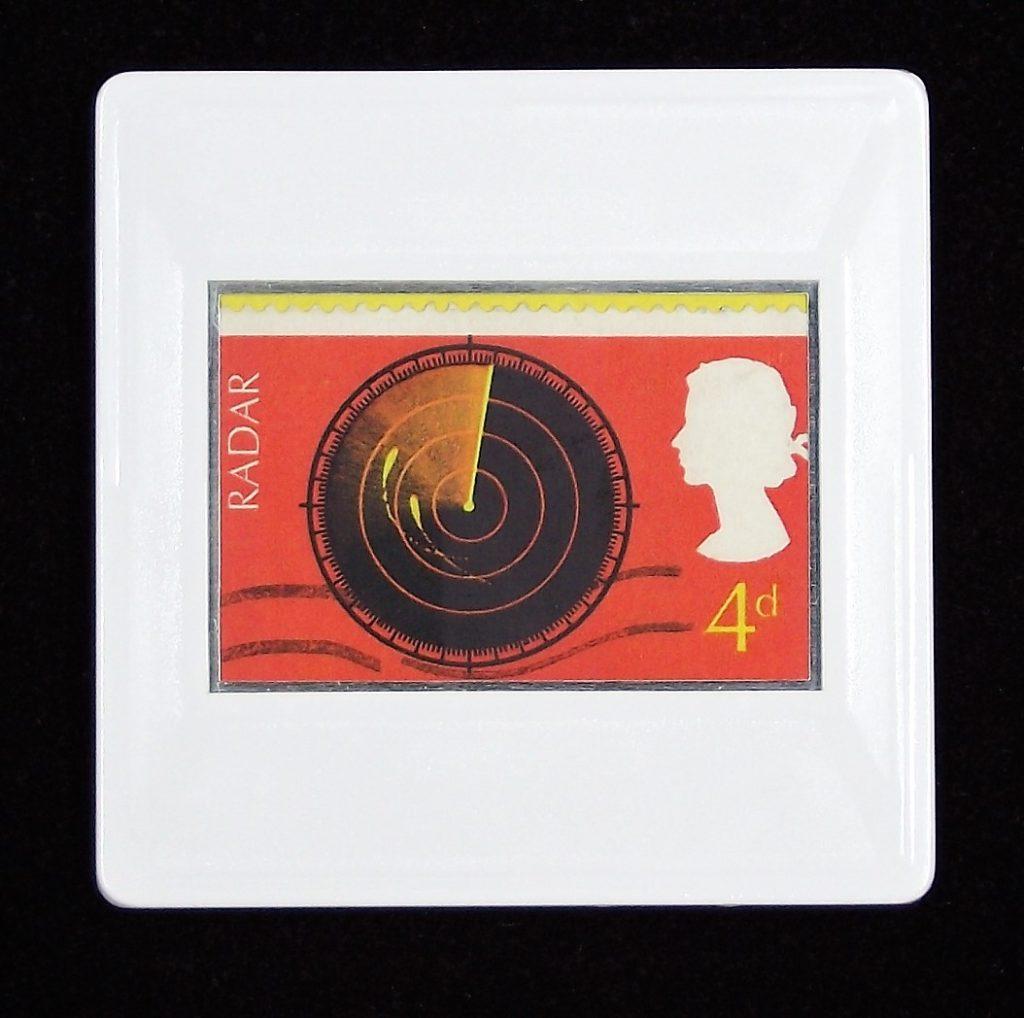 Radar brooch - British Discovery stamp - science badges