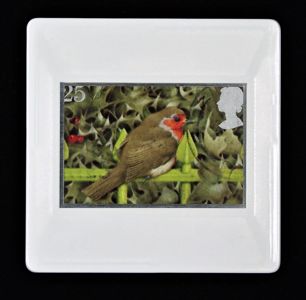 Christmas Brooch with European Robin on Railings and Holly.jpg