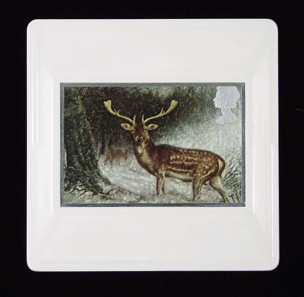 Fallow Deer in Scottish Forest brooch - illustrated Keith Bowen 1992
