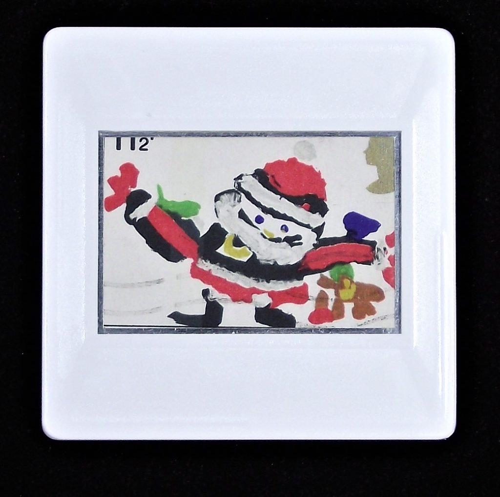 Father Christmas painted by young child brooch - Blue Peter Competition stamp