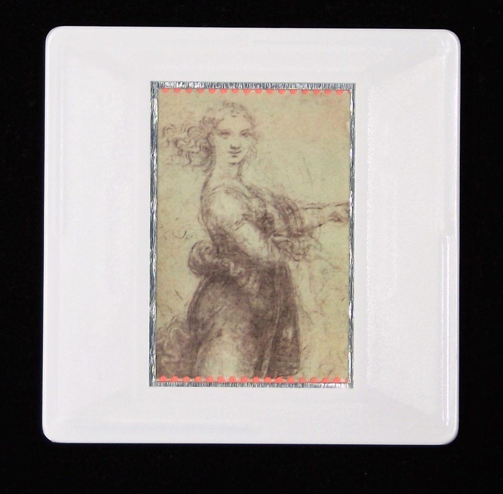 Leonardo da Vinci brooch- A woman in a landscape
