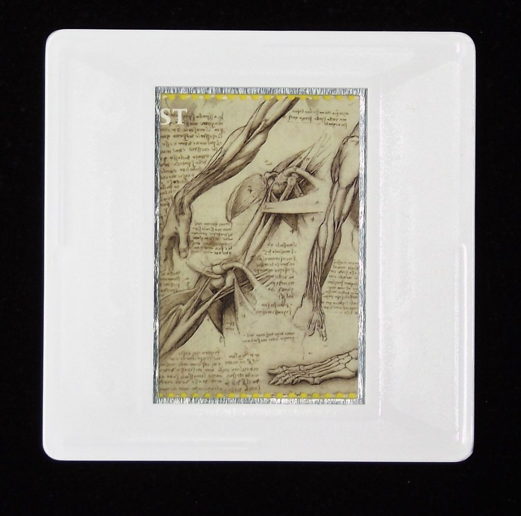 Leonardo da Vinci brooch - The anantomy of the shoulder and foot