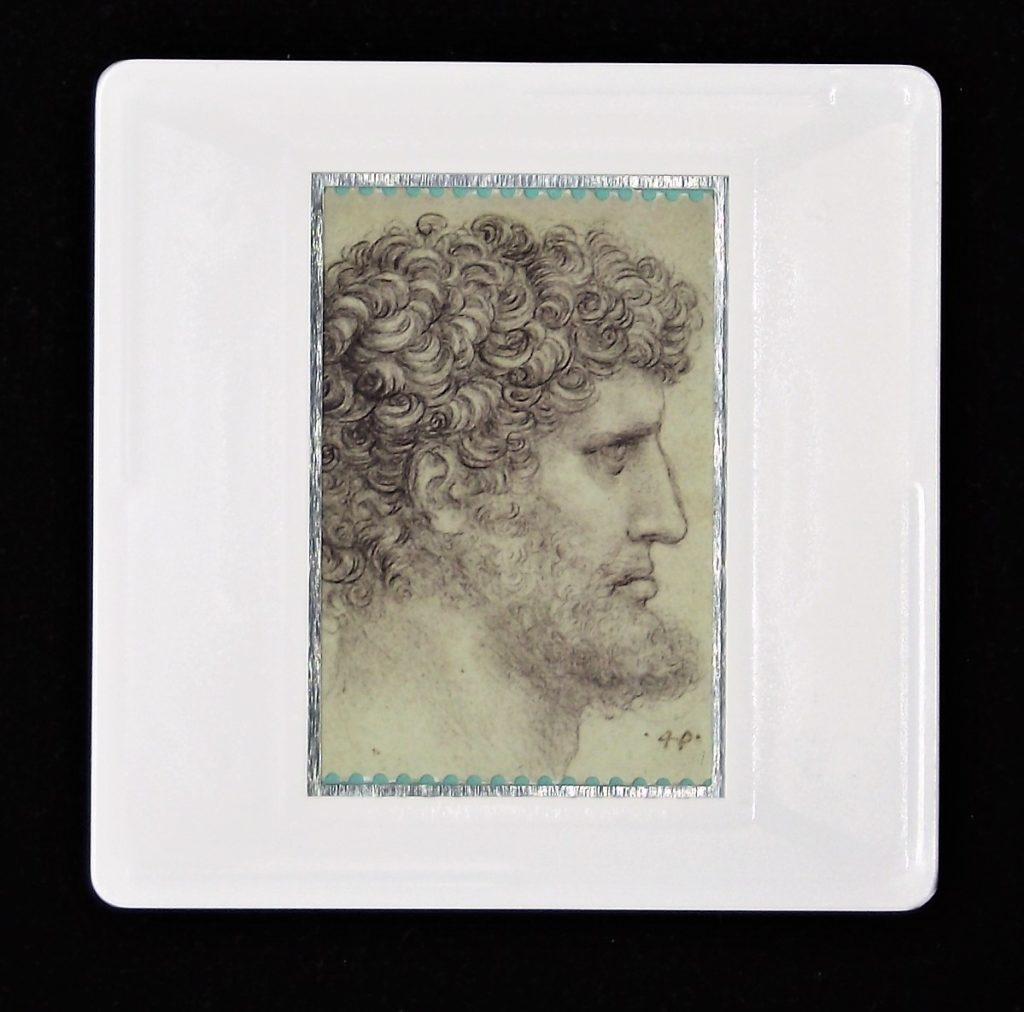Leonardo da Vinci brooch -The head of a bearded man