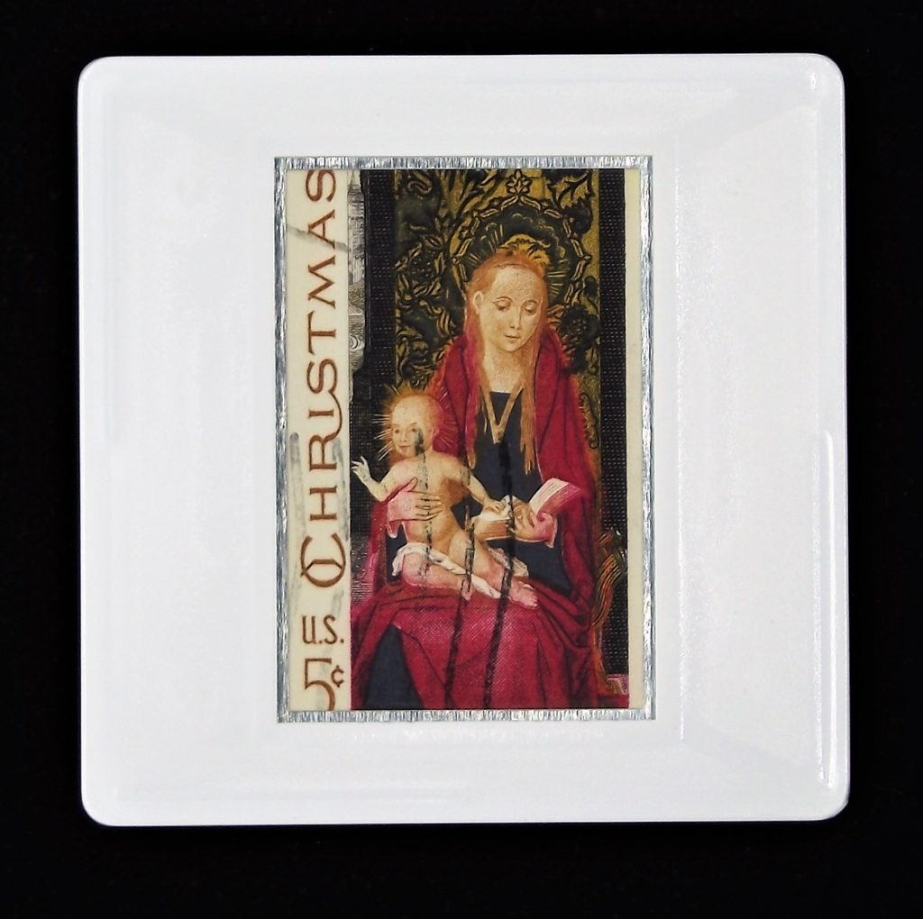 Madonna and Child brooch - traditional christmas - US 5c stamp