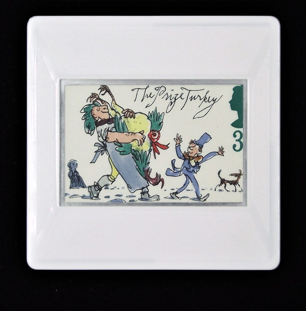 A Christmas Carol brooch - The Prize Turkey (image designed by Quentin Blake)