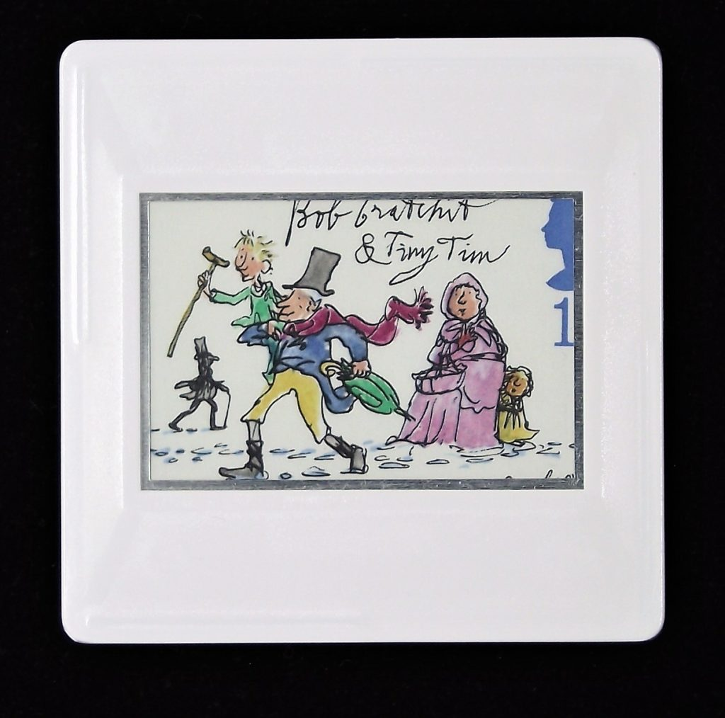 Bob Cratchit and Tiny Tim brooch (stamp designed by Quentin Blake)