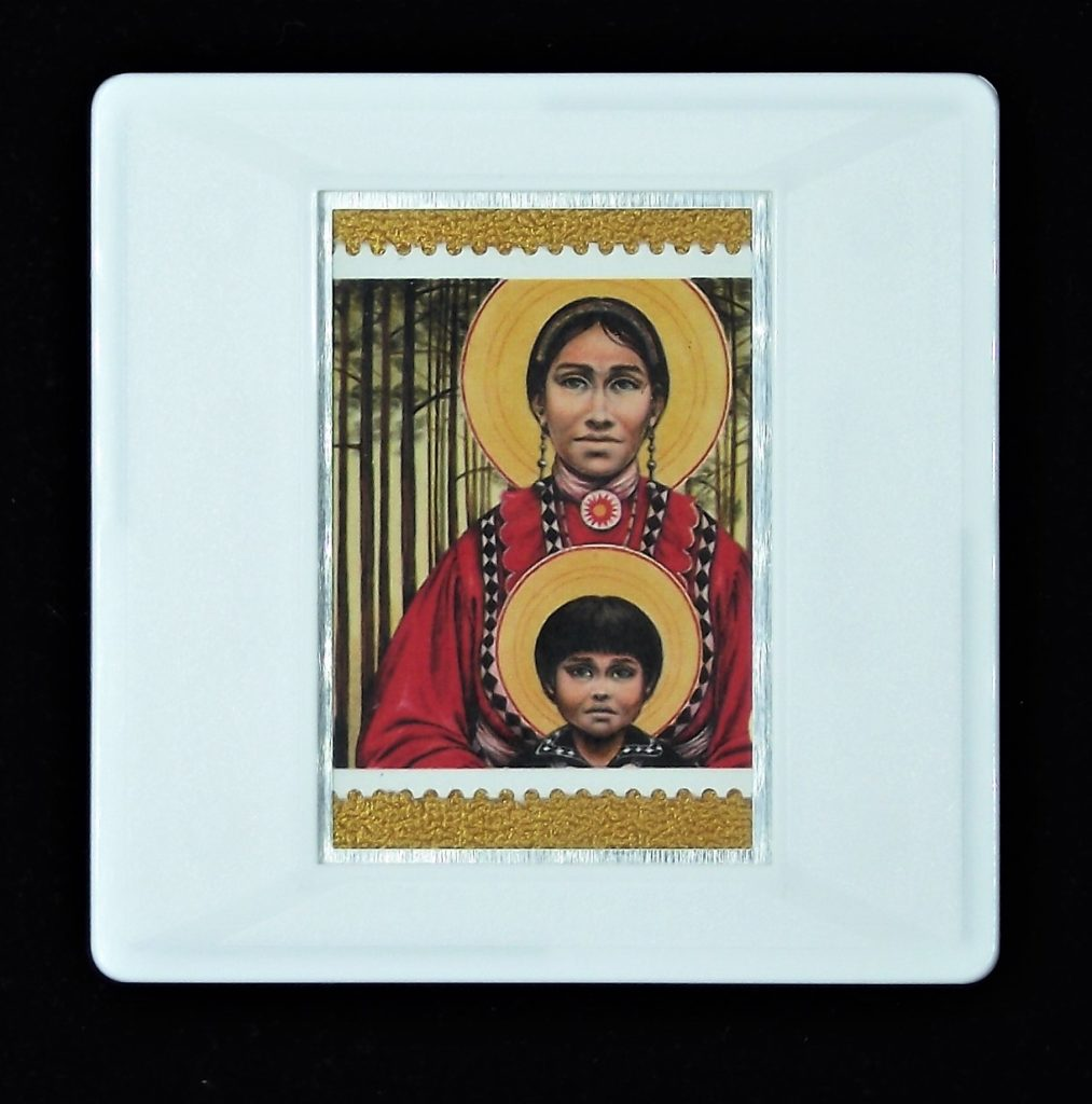 Choctaw Virgin Mother and Child Christmas brooch (Fr. John Giuliani)