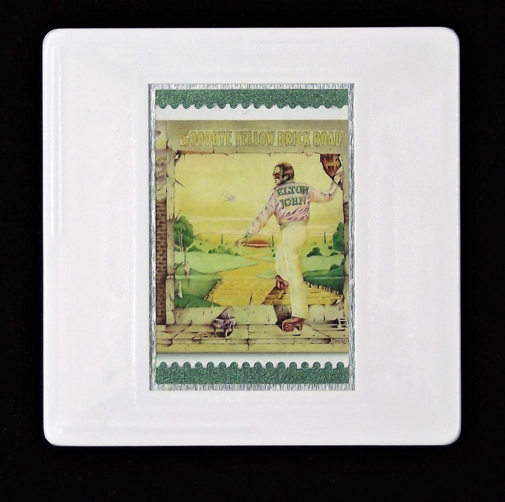 Elton John Goodbye Yellow Brick Road album cover brooch