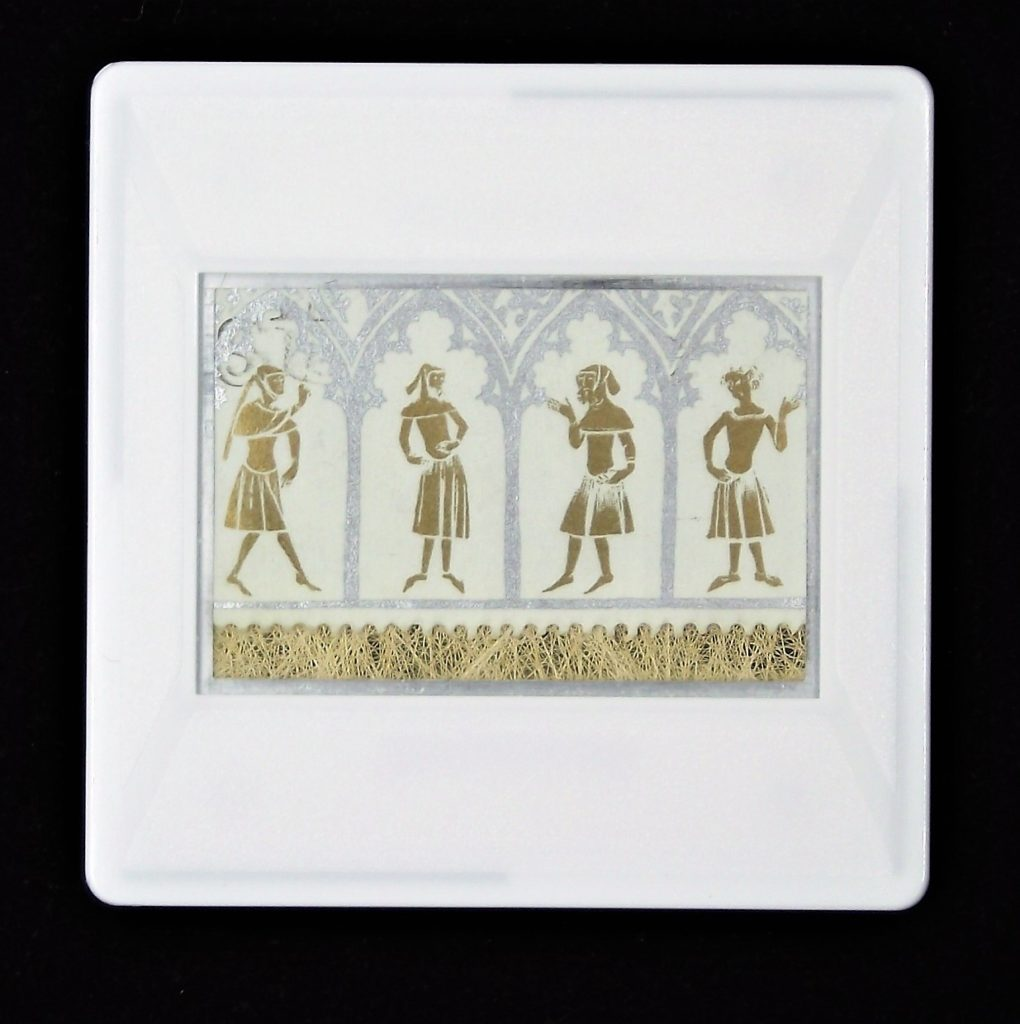 Ely Cathedral Christmas Brooch - 14th-century Peasants from stained-glass window