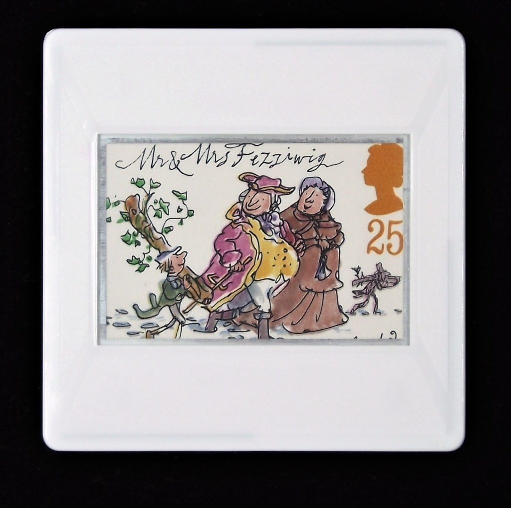 Mr and Mrs Fizziwig brooch - A Christmas Carol (stamp designed by Quentin Blake)