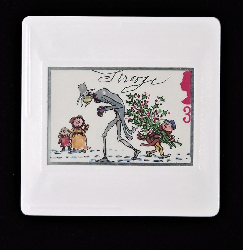 Scrooge brooch - A Christmas Carol (stamp designed by Quentin Blake)