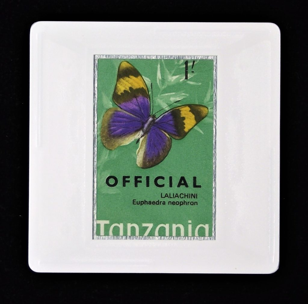 Tanzanian butterfly brooch - from 1973 Tanzania stamp Laliachini butterfly