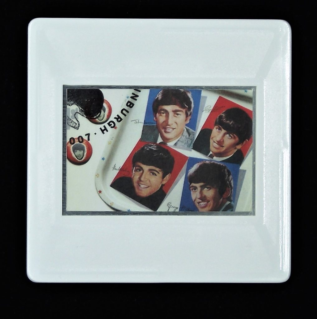 The Beatles tray and badges brooch - music brooches and badges