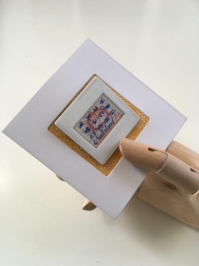 Birthday card with Dutch Stamp Brooch