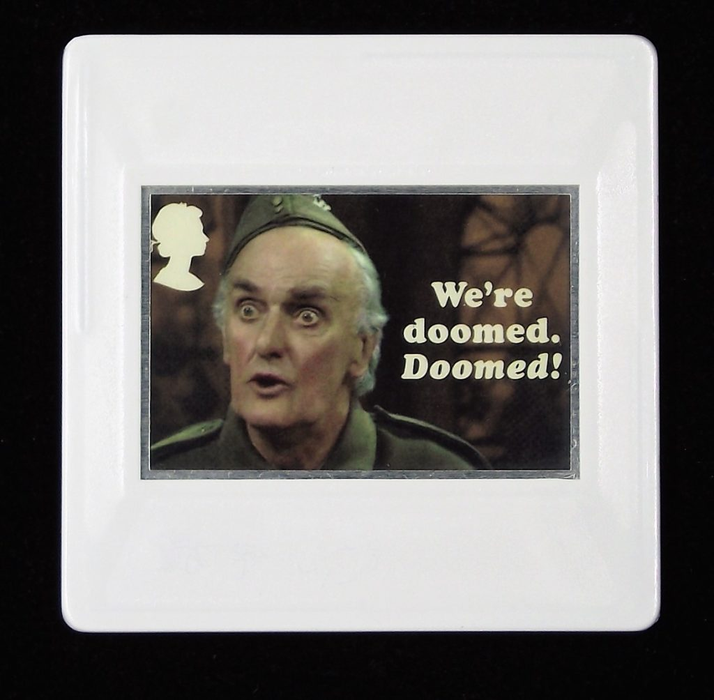 Dad's Army Brooch, Private Frazer, John Laurie, We're doomed.  Doomed!