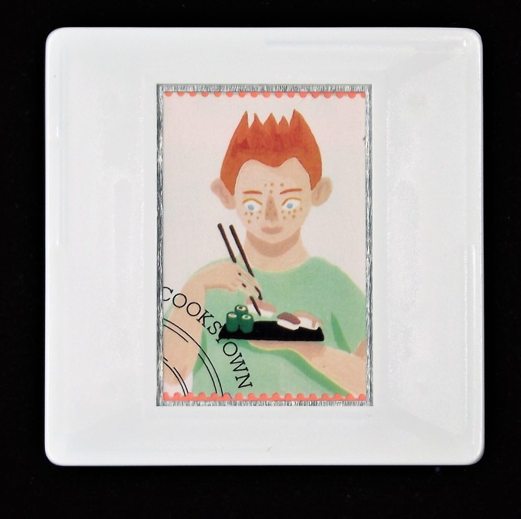 Gastronomy, Changing tastes of Britain, postage stamp, boy eating sushi brooch, food brooch, chop sticks