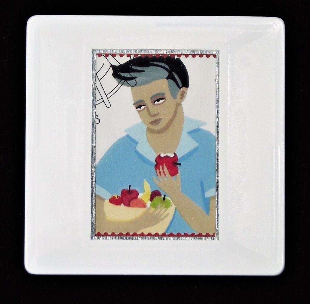 Food brooches, teenage boy eating an apple brooch,