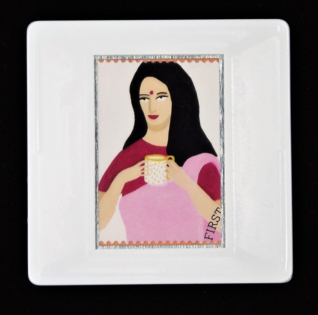 Gastronomy, Changing tastes in Britain stamps, food and drink brooch, Indian woman drinking tea brooch