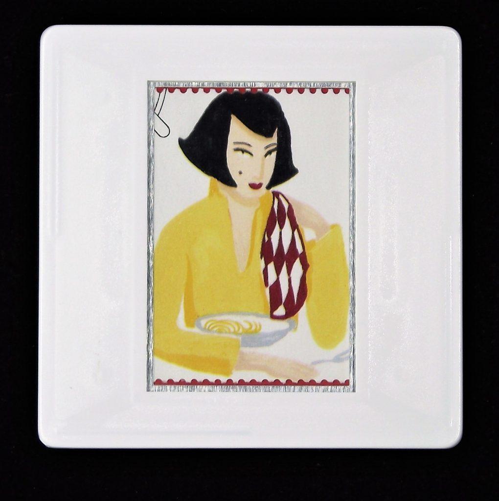 Food brooch, woman eating pasta brooch, spaghetti,